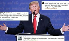Why are social media users cracking up at #TrumpBookReport after the final US presidential #debate?